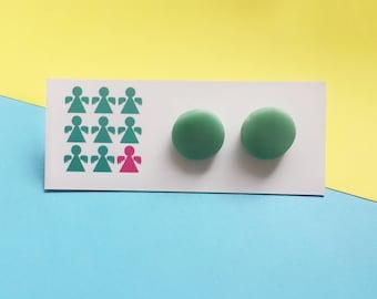 Green stud earrings, pastel earrings, clay earrings, circle earrings, colourful earrings, stud earrings, quirky earrings, geometric studs