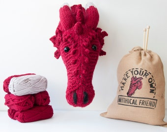 Faux Dragon Knitting Kit - Make Your Own Mythical Friend - Taxidermy Trophy Head DIY Project