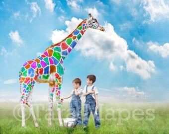 Rainbow Giraffe Painted Digital Background