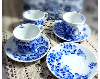 Set of 4 small coffee espresso cups and saucers. Hand painted! Blue and white porcelain by Lana Arkhi St Valentine's gift