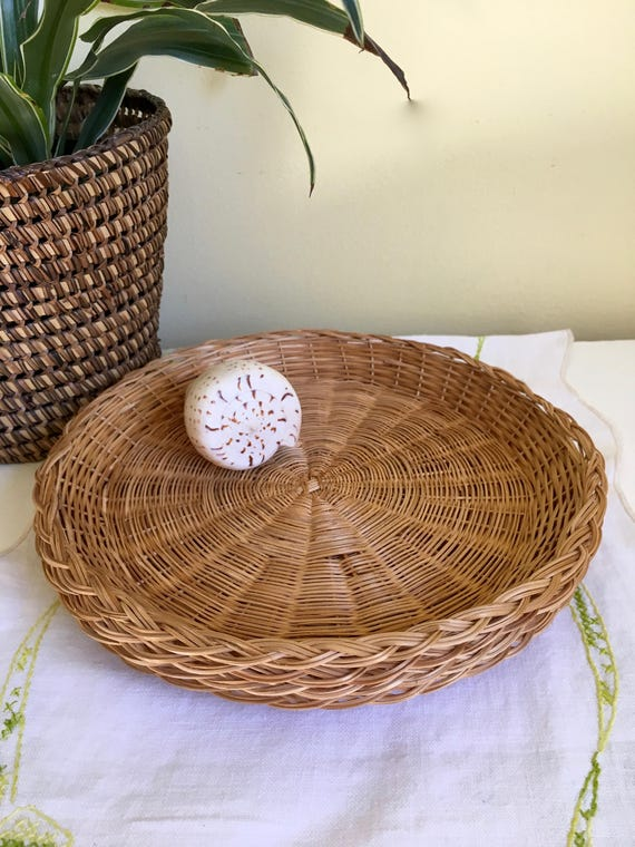 Like this item? & Vintage Set of Four Wicker Paper Plate Holders Woven Wicker