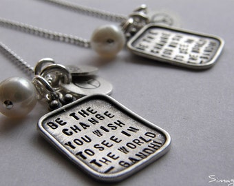 Be The Change - quotation by Mahatma Gandhi - PERSONALIZED IT - Sterling Silver Charm -Simag