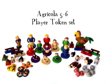Agricola 5-6 player extension pieces, Farmer families, building resources, animeeples, food tokens, custom meeples, boardgame tokens