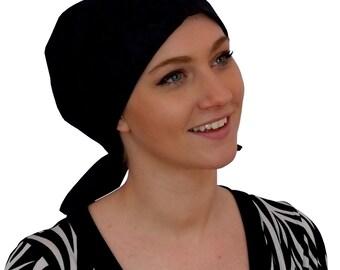 Sandra Scarf, A Women's Surgical Scrub Cap, Cancer Headwear, Chemo Head Scarf, Alopecia Hat, Head Wrap, Head Cover, Hair Loss Black Flowers