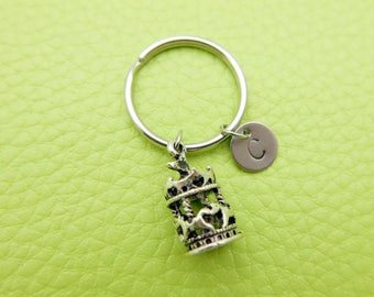 Carousel initial Keychain stainless steel Keyring