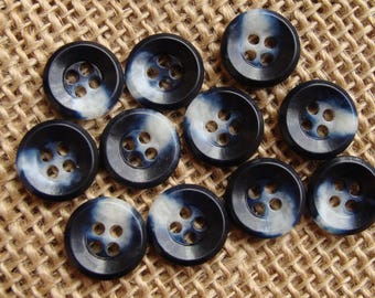 """Dark blue and white 4-hole plastic buttons - mottled cloudy button destash lot - 9/16"""" (14mm) - sewing notion - quantity: 11"""
