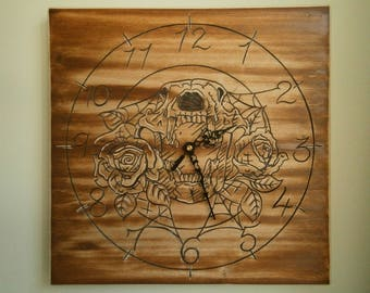 Hand carved Wooden Wall clock
