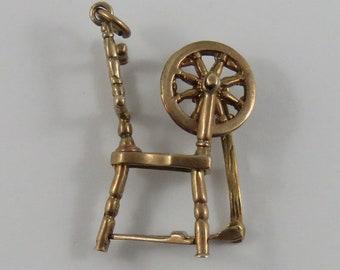 Spinning Wheel 9K Mechanical Gold Vintage Charm For Bracelet