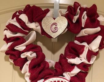 OU School Spirit Heart Wreath