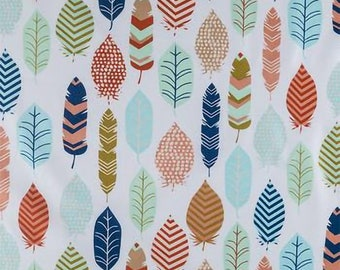 aztec feather print, aztec feather fabric, feather fabric, fabic by the yard nursery fabric indian fabric cotton fabric, cotton by the yard