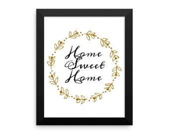 Matte framed home-sweet-home poster