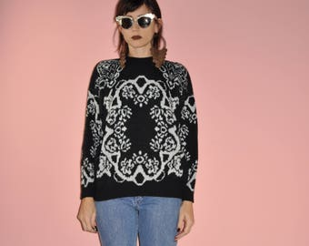 Vintage 80s 90s Black White Knit Baroque Ornate Sweater