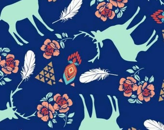 15 Yards in Stock - 3 Wishes Fabric - Deer on Navy from the collection Pachua - 12933 - 100% Cotton