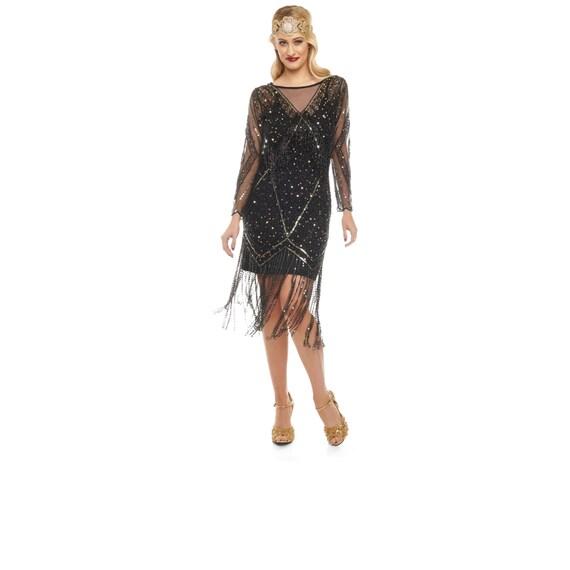 Betty Schwarzgold Fransen Kleid mit Ärmeln mit Slip 20er Jahre Vintage  inspiriert Flapper große Gatsby ArtDeco Charleston Downton Abbey  Brautjungfer