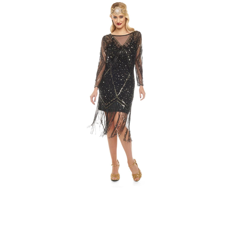 Betty Schwarzgold Fransen Kleid mit Ärmeln mit Slip 20er Jahre