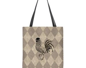 Rooster Tote Bag, market bag, chicken tote bag, chicken bag, shopping bag,tan tote bag, book bag, gift for her, carryall
