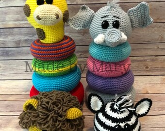 PDF PATTERN: Ring Stacker Zoo Animals 1 **Crochet Pattern Only, Not Actual Doll!** Crochet Toy