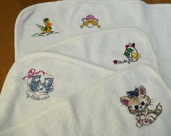 Towels, placemats for children or girls personalized with embroidery