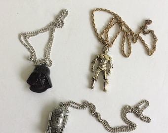1977 starwars necklaces sold separately DarthVader-C3PO -R2d2 -26.00 each