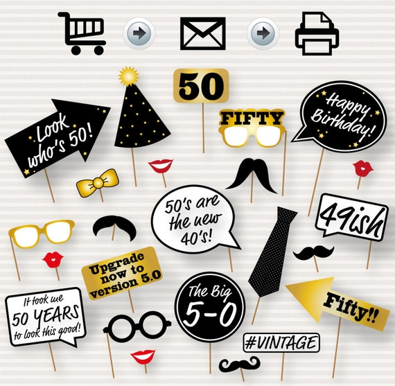 50th Birthday Party Printable Photo Booth Props Glasses