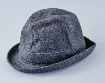 Vintage Men's Grey Wool Blend Fedora Trilby Hat Film Noir Medium 56cm 22""
