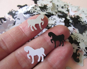 Paper Horse Confetti in Black , White and Grey, Horse Party Theme Decoration, Horse Die Cuts, Horse Table Scatter, Animal Party Theme