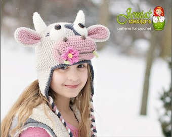 CROCHET PATTERN - Cow Hat, Farm Animal Hat Pattern for Baby, Toddler, Child, Teen, Adult, Girl - Spring Cow - Photo Prop or Costume