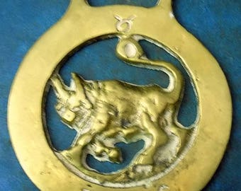 Rare vintage HORSE BRASS Astrological TAURUS the Bull Style Design Made in England