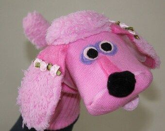 Handmade Couture Pink Poodle Sock Puppet