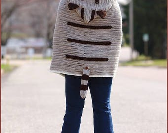 DIGITAL DOWNLOAD: PDF Crochet Pattern for the Kitty Cat Poncho