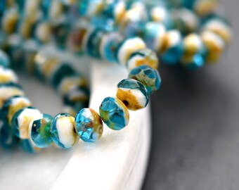 Pure Beauty - Premium Czech Glass Beads, Translucent Capri Blue, Opaque White, Picasso Finish, Facet Rondelles 6x8mm - Pc 10