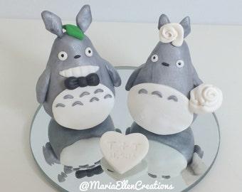 My Neighbor Totoro wedding cake topper - Polymer clay cake topper - Custom couple cake topper, wedding cake topper, MADE TO ORDER!