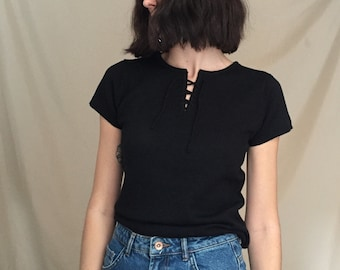 90s Black Sweater Top with Front Tie Closure, small to medium