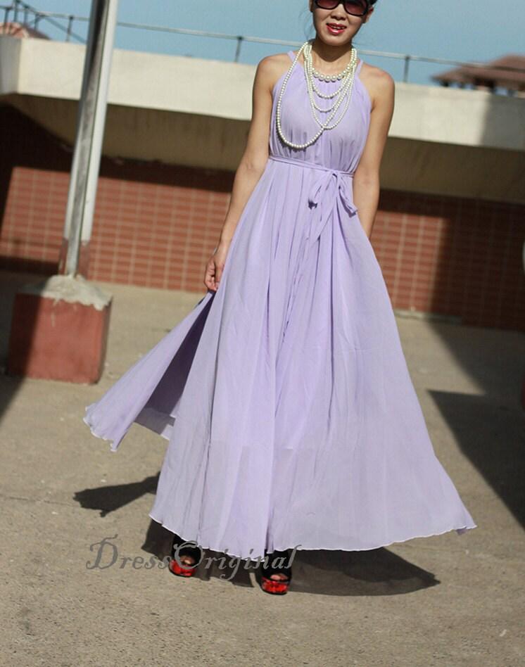 lavender summer dress knee length dress chiffon Sundress Short