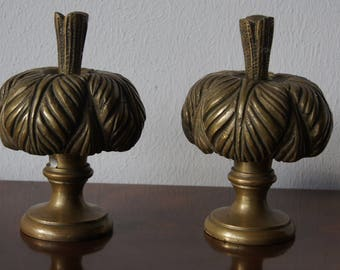 2 big antique french bronze drapery finials Drapery hardware