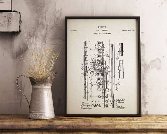Flute art printpatentflute vintage art blueprint poster flute art printpatentflute vintage art blueprint poster patentprints wall art decor vintage printable patent poster artwork drawing malvernweather Choice Image