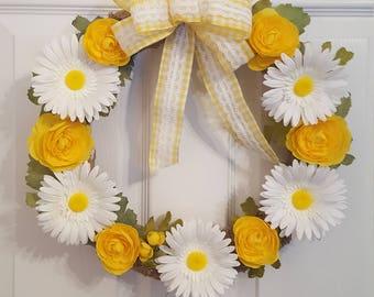 Daisy wreath. Flower wreath. Floral wreath. Spring wreath. Summer wreath.  Mother's Day wreath