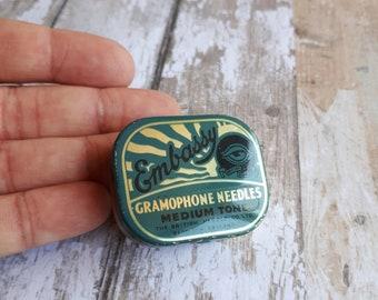 1940's Embassy Gramophone Needles Tin - Gramophone Records - British Needle Co Ltd - Redditch England - Medium Ton