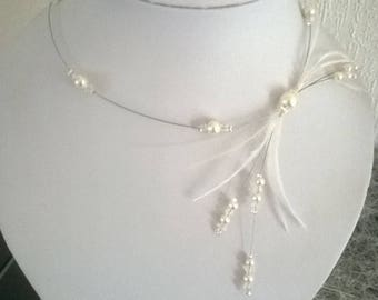 Necklace ivory/white transparent beads, feather bridal wedding party