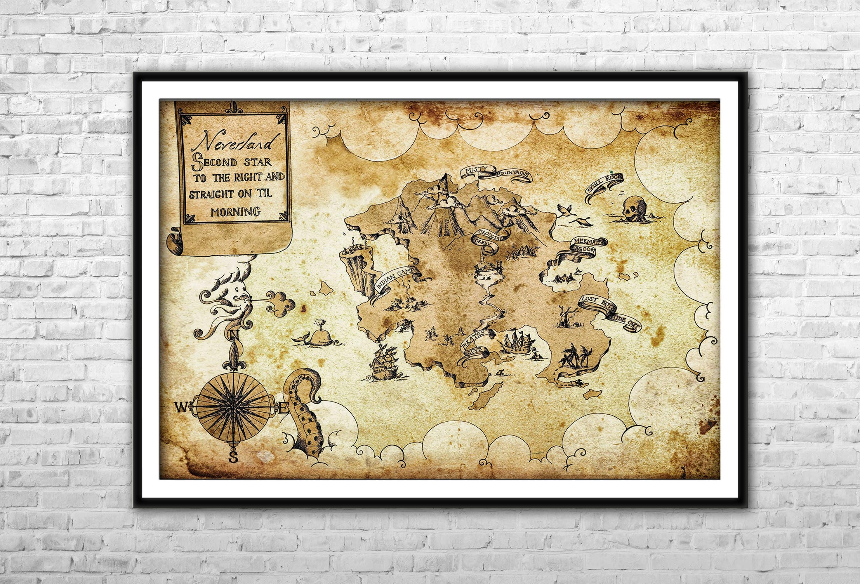 Neverland Map Peter Pan Nursery Archival Paper Canvas Print