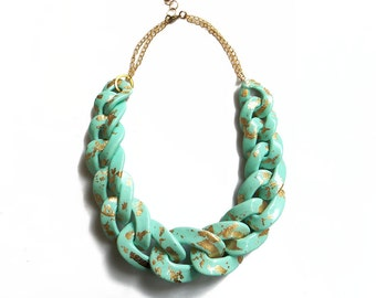 Mint Gold Statement Necklace, Oversized Chunky Chain Link Necklace, Mint Statement Necklace