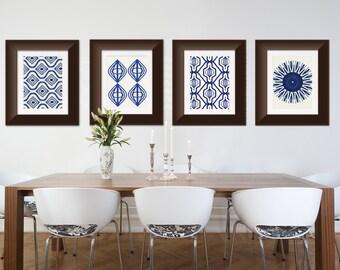 Set of 4 Indigo Blue Shibori inspired Art Prints Moroccan, Tribal, Boho Wall Art 8x10 or 11x14
