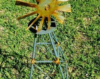 Mini Rustic Metal Windmill