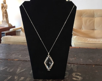 Antique Vintage 1930s Czechoslovakian Crystal Pendant Necklace Free Shipping in US