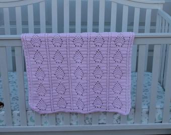 Baby Blanket crocheted afghan pink