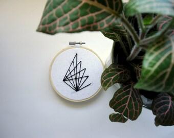 Geometric black and white modern hand embroidery/ geometric hand embroidery/ hand embroidered/ hand stitched/ modern hoop art/ mattsonmade