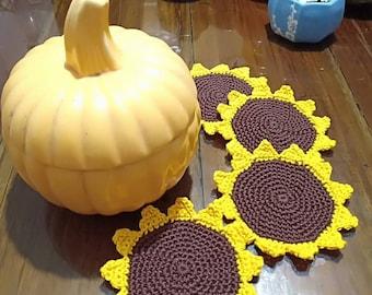 Sunflower coasters (set of 6)