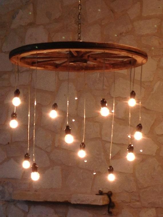 Random length wagon wheel chandelier large mozeypictures Gallery