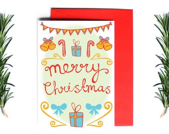 Christmas Card - Merry Christmas - Primary Design | Greeting Card | Holiday Card