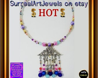 Art Jewel Choker Necklace with Chandelier Pendant - & a FREE mystery gift